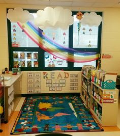 Loving my reading area this year☁☀ classroom walls, classroom displays, classroom setup