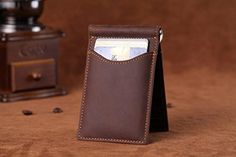 Premium Men's Crazy Horse Leather Money Clip, Wallet with High Quality RFID Blocker, Slim Bifold Credit Card Holder - Dark Brown - Brought to you by Avarsha.com