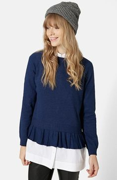 Topshop Ruffle Hem Sweater available at #Nordstrom