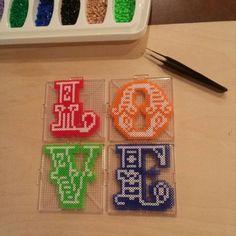 LOVE letters mini perler beads by kcpopick13 - Pattern: https://de.pinterest.com/pin/374291419013955497/