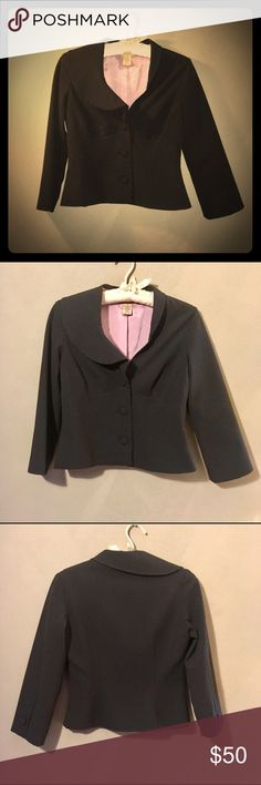 """📼 Vintage (2000) elevenses Buttoned Blazer Vintage (2000) elevenses 3-button dainty lavender design print fully lined black blazer with extraordinary detail and flattering cut in a never worn/excellent condition size 2. Really cool neckline cut and medium sized, closure and sleeve, fabric covered buttons. Waist tapers nicely to bust. Devine/unique! A piece I kept hoping to fit into again some day! That day hasn't come for me and won't since I love chocolate and bread. Measurements: 16.25""""…"""