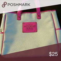 """*Victoria's Secret*  tote. Beautiful colors! Beautiful pink and white. New condition. 2 pockets on side.  It is 12.5"""" tall and 13.5"""" wide.  It is a tan satin material on the inside! PINK Victoria's Secret Bags Totes"""