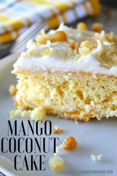 tasty mango coconut cake is perfect for a summer get together or luau. Rich in flavor, this delightful, light dessert is like summer in a cake. Delicious Cake Recipes, Cupcake Recipes, Yummy Cakes, Cupcake Cakes, Cupcakes, Dessert Recipes, Dessert Ideas, Drink Recipes, Homemade Desserts