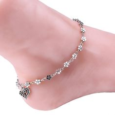 """ABC® Women Silver Bead Chain Anklet Ankle Bracelet Barefoot Sandal Beach Foot. Material: Alloy Rhinestone. Size: 18*8cm/7.08*3.14"""". Wonderful gift for you and your female friends. Special design and unique structure, a popular item. Nice accessories to integrate jewelry case for girls and collectors."""