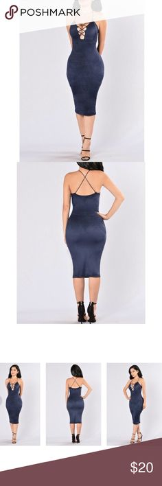 Navy faux suede dress Midi length, navy, faux suede, crisscross front sexy dress. Bought from fashionnova.com. Worn once. No trades.Please feel free to bundle items and make an offer.  Fashion Nova Dresses Midi
