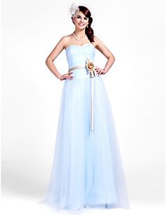 Floor-length Tulle Bridesmaid Dress - Sky Blue Plus Sizes / Petite A-line / Princess Strapless / Sweetheart