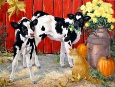 Linda Picken Art Studio / Spilt Milk with Cat. Chicken Painting, Cow Painting, Decoupage Vintage, Illustrations, Illustration Art, Cartoon Chicken, Arte Country, Farm Art, Cow Art