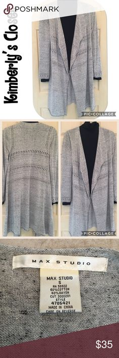 ✨MAX STUDIO✨ long cardigan MAX STUDIO long gray cardigan.  Machine washable.  Looks great with leggings or jeans and boots.  Black turtleneck shown in photo is not included.  Only worn a couple of times - great condition. Max Studio Sweaters Cardigans