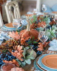 Blue Fall Decor, Fall Home Decor, Autumn Home, Holiday Decor, Fall Table, Thanksgiving Table, Thanksgiving Decorations, Thanksgiving Blessings, Pumpkin Centerpieces