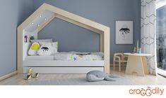 Mira Bed has an architectural design with embedded night lights.The lights are adjustable with an easy accessible touch button.Trundle drawer on wheels provides an extra bed for fun sleep overs.
