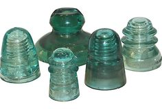 My gramps used to collect these. Glass Telephone-Pole Insulators - One Kings Lane - Vintage & Market Finds Glass Insulators, Glass Jars, Antique Glass, Antique Items, Canning Jars, Mason Jars, Porcelain Insulator, Vintage Decor, Vintage Stuff