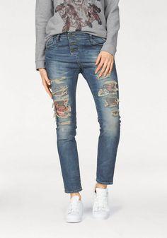 """Please Jeans Destroyed-Jeans für 79,95€. Trendige Jeans mit Destroyed-Effekten """"P47"""" von Please, Lässig auf den Hüften zu tragen oder als hohe Form bei OTTO"""