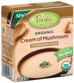 Pacific Natural Foods Organic Cream Of Mushroom Condensed Soup, 12-Ounce Boxes (Pack of 12)  Order at http://www.amazon.com/Pacific-Natural-Foods-Mushroom-Condensed/dp/B003VIJI1A/ref=zg_bs_16310241_71?tag=bestmacros-20