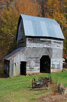 Barn With Odd Siding & Old Farm Wagon