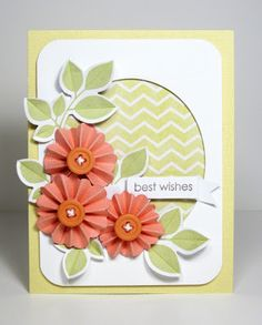 handmade card from Van Laar Designs ...like the overall design ... luv the rosette flowers  with button centers ...