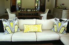 Family Room.  Throw pillows. Sectional sofa. I guess I am really into grays and yellows this season...