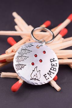 Campfire Dog Tag, Camping Adventure Dog Tag, Custom Dog Tags for Dogs, Dog Name Tags, Stamped Dog Tag Personalized with Crystal Fire Sparks Dog Name Tags, Pet Id Tags, Just In Case, Just For You, Custom Dog Tags, Personalized Tags, Jewelry Polishing Cloth, Unique Animals, Pet Names