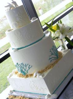 Beach Theme Wedding Cake - Destination Wedding Details