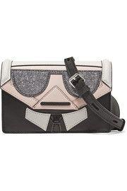 Kocktail Karl paneled glittered textured-leather shoulder bag