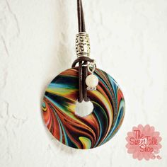 MultiColored Washer Necklace with Leather Cording by sweettalkshop, $15.00