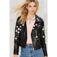 Goldie Daisy Babe Moto Jacket ($128) ❤ liked on Polyvore featuring outerwear, jackets, black, motorcycle jackets, cropped biker jacket, cropped jacket, cropped motorcycle jacket and zip front jacket