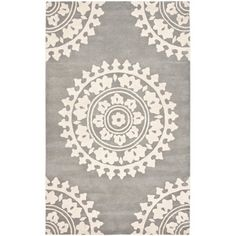 Handmade Soho Chrono Grey/ Ivory New Zealand Wool Rug (7'6 x 9'6) | Overstock.com
