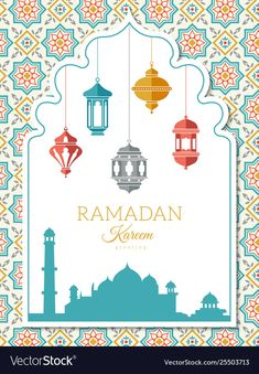 Ramadan decoration banner with muslim islam symbols lanterns vector arabic illustration. Illustration about arabian, decor, kaaba, iftar, beauty - 147971841 Ramadan Crafts, Ramadan Decorations, Blog Backgrounds, Wallpaper Backgrounds, Eid Card Designs, Calligraphy Borders, Fruit Quotes, Wallpaper Wa, Eid Mubarak Greetings