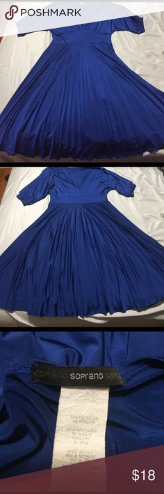Bright blue pleated dress Size S, bright blue flirty deep v-neck dress! Gorgeous cinched detail on the shoulders. Skirt is very lightly pleated(will be adding better pictures soon).. Soprano Dresses