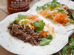 These super easy Asian inspired Hoisin Beef Tacos are stuffed with slow cooked shredded beef, hoisin sauce, and a simple sweet & sour Asian slaw. Slow Cooker Recipes, Beef Recipes, Cooking Recipes, Healthy Recipes, Budget Recipes, Budget Meals, Yummy Recipes, Healthy Eating Meal Plan, Asian Recipes