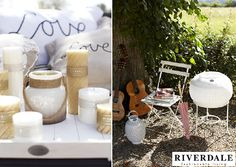 Garden Trends 2013 - Riverdale Fashionable Living Garden  Accessories 'Rockin Romance' - Romantic Picknick with Riverdale Text Pillows, Riverdale Tray with Many Candles and Lights on the Terrace, Balcony & in the Garden!