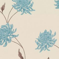 Graham & Brown Eve Wallpaper Teal / Cream Brown Leather Sofa Living Room, Brown And Cream Living Room, Brown Leather Furniture, Leather Living Room Furniture, Living Room Color Schemes, Blue Color Schemes, Living Room Colors, Living Room Grey, Living Room Decor