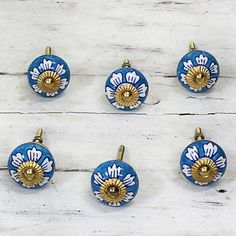 Novica Set of 6 Handcrafted Ceramic ' Flowers' Cabinet Knobs