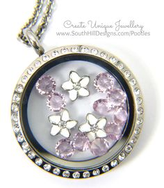 South Hill Designs & Stampin' Up! Sunday Mother's Day Locket Tutorial With June Birthstones Close Up