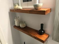 Floating Shelves Floating shelves provide a great, modern look, but they aren't always cheap, and it can be tough to find the exact wood tone you want. While updating our bathroom, we knew. Wood Bookshelves, Wood Shelves, Shelving, Floating Cabinets, Floating Shelves Diy, Bathroom Shelves, Bathroom Storage, Shiplap Bathroom, Wooden Bathroom