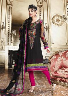 Black Full Sleeve Georgette Anarkali Salwar Kameez 15781