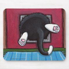 Cute Cartoon Tuxedo Kitty Cat Stuck in a Cat Flap - Funny Cat Art Mousepad Cat Has Fleas, Fancy Cats, Neko Cat, Cat Drinking, Christmas Art, Beautiful Cats, Animal Drawings, Cool Cats, Cat Art
