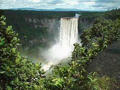 Kaieteur Falls, Guyana--the world's largest single drop waterfall (5x longer than niagra falls).  Incredible!