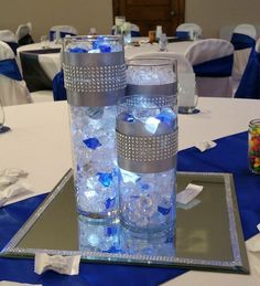 Masquerade Party Centerpieces, Blue Wedding Centerpieces, Sweet 16 Party Decorations, First Communion Decorations, Bling Wedding, Rustic Wedding, Wedding Bands, Wedding Ideas, Diamonds And Denim Party