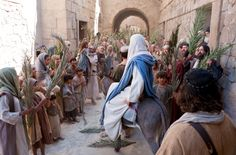 The people celebrate and greet Christ upon His triumphal entry into the city of Jerusalem. From LDS.org image gallery