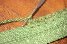 Great way to attach a zipper to a crocheted or knit item.