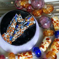 """TRIZAS-ORIGINAL  Handmade Pendant/ lampwork bead  (20+1)"""" jiraffe"""" TOS0345 SRA #TRIZASOriginal #Lampwork"""