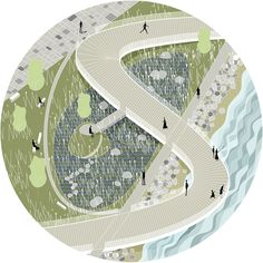 """Embankment design project for """"Park Line"""" architectural competition."""