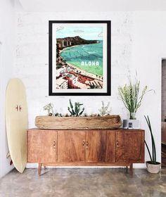 Vintage Hawaii Art Print. Modern surf style home decor. Aloha Waikiki and Diamond Head by local artist, Nathaniel Bart.