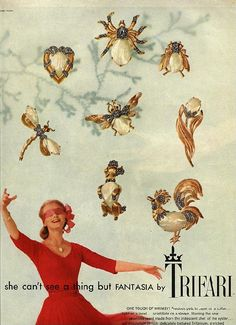 Some years ago, I bought a vintage Vogue magazine with the Trifari Ad depicting its Fantasia Series from I decided then that I was on a quest to collect each of the pins shown in the ad. My first purchase was the Trifari poodle pin. Jewellery Advertising, Jewelry Ads, Jewelry Branding, Fashion Jewelry, Luxury Jewelry, Fashion Fashion, Jewelry Crafts, Simple Jewelry, Cute Jewelry