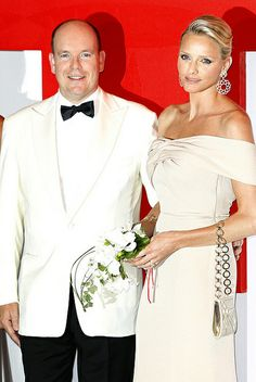 Prince Albert and Princess Charlene of Monaco  in Armani Privé at 62nd Monaco Red Cross Ball in Monte Carlo