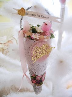 Wonderful Hand Made 'Easter Paper Lace Decorative Cone' with Dresden, Chick and Die Cut