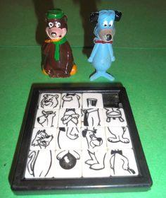 vintage 1960's YOGI BEAR slide PUZZLE & HUCKLEBERRY hound YOGI Hong Kong FIGURES    eBay