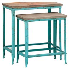 Distressed metal nesting tables