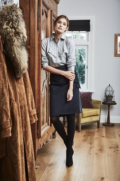 Cassia - wrap skirt with a fixed tie in a cotton and wool subtle blue plaid design.  Just gorgeous.