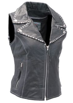 Womens studded black leather vest is a great riding vest for those women looking for that bad girl look. This black leather motorcycle vest has features that include chrome rivet trim studding on the snap down collar, front zipper, two cotton lined z...